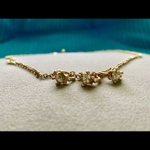 Forever 21 Three Diamond Rings Gold Necklace